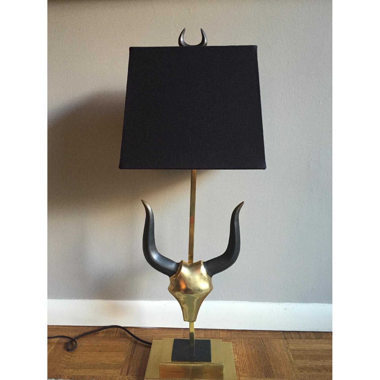 Brass Longhorn Table Lamp - image-1