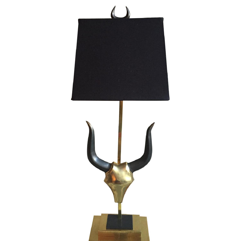 Brass Longhorn Table Lamp - image-0