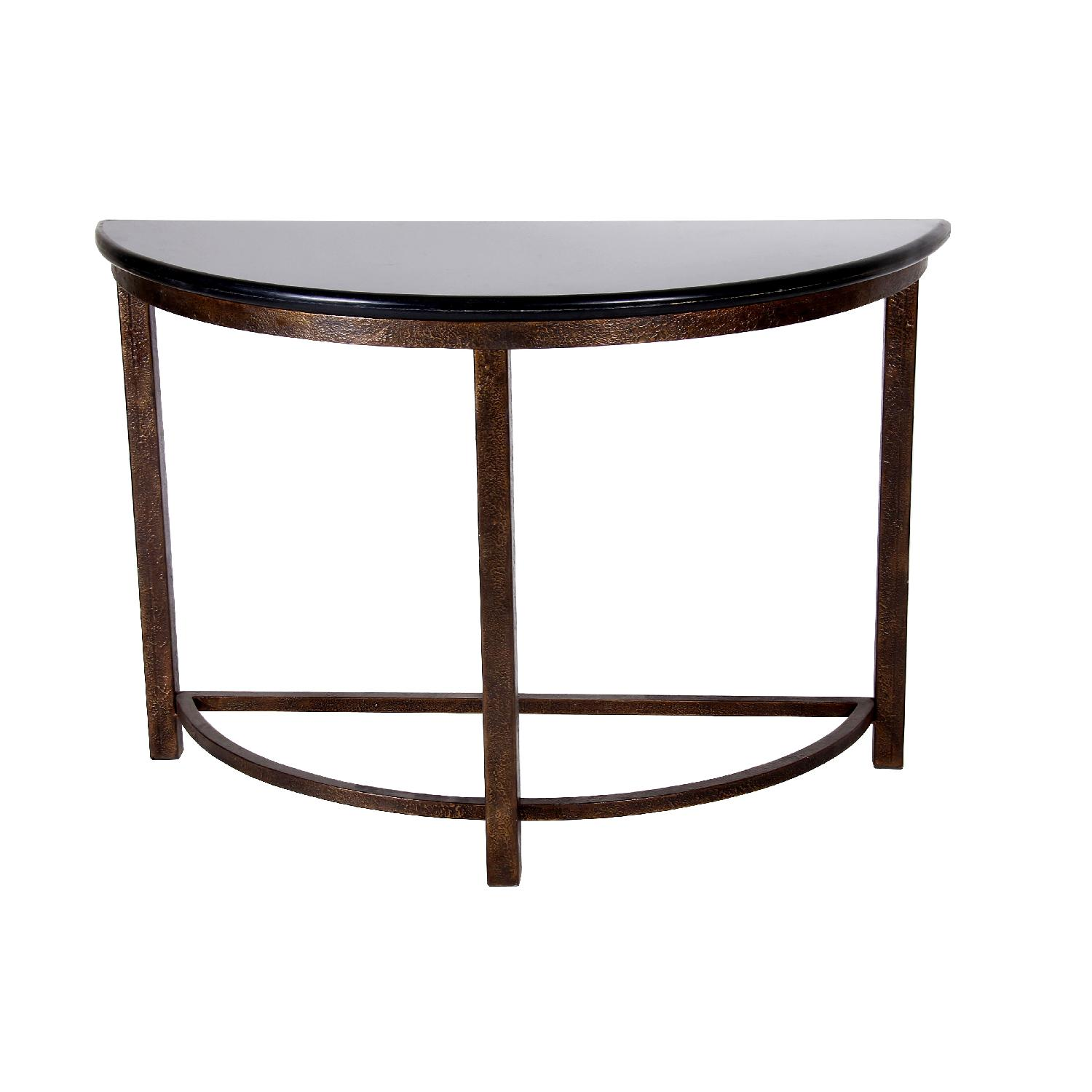 Designe gallerie metal console table with black marble