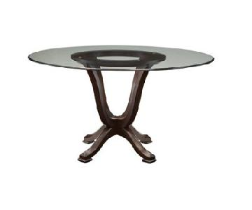 Raymour & Flanigan Round Glass Dining Table