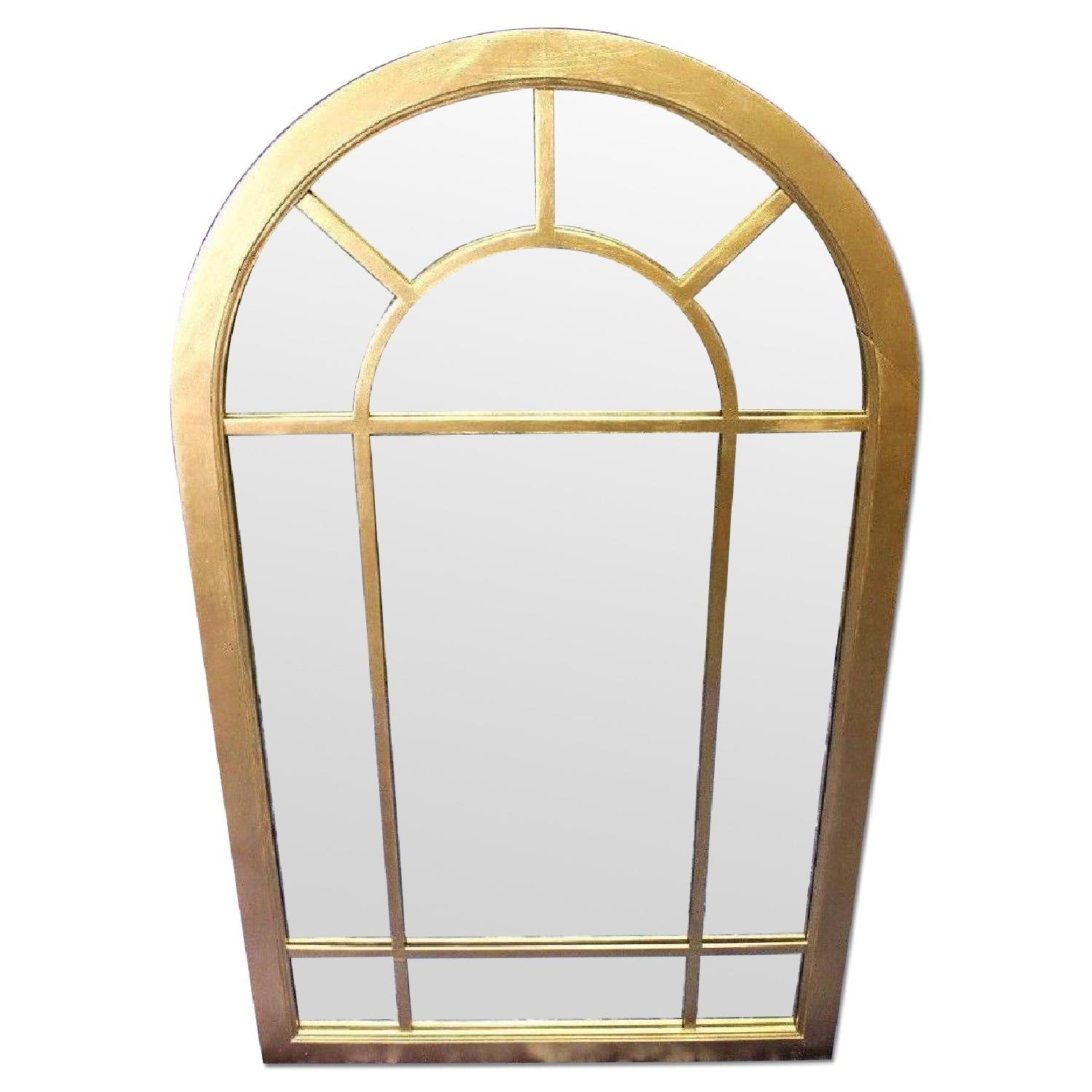 Art Deco Arched Heavy Wood Frame Wall Mirror