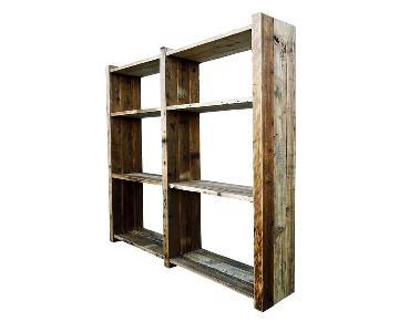 Solid Rustic Reclaimed Pine Wood Storage Bookshelf