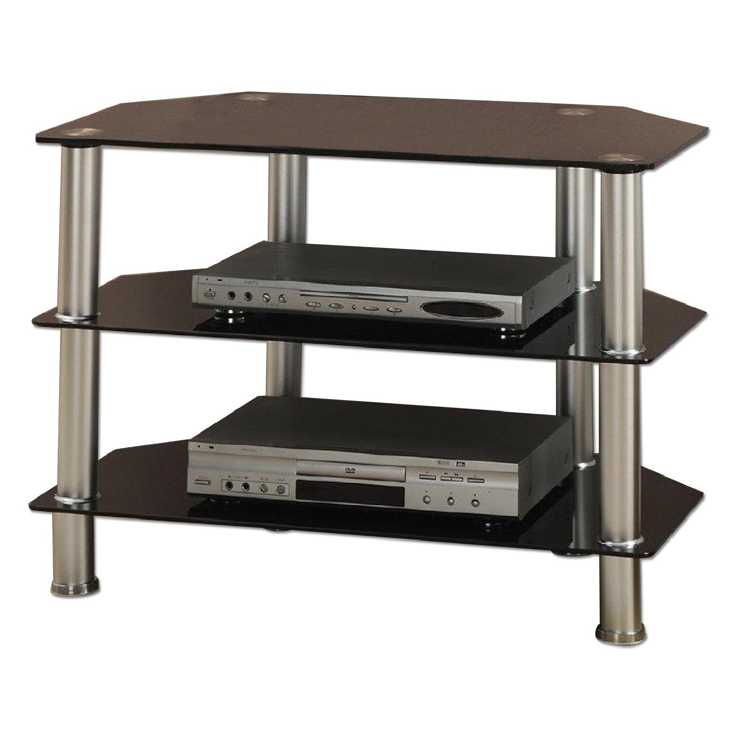 Chrome Finish TV Console Stand w/ Black Glass Shelves
