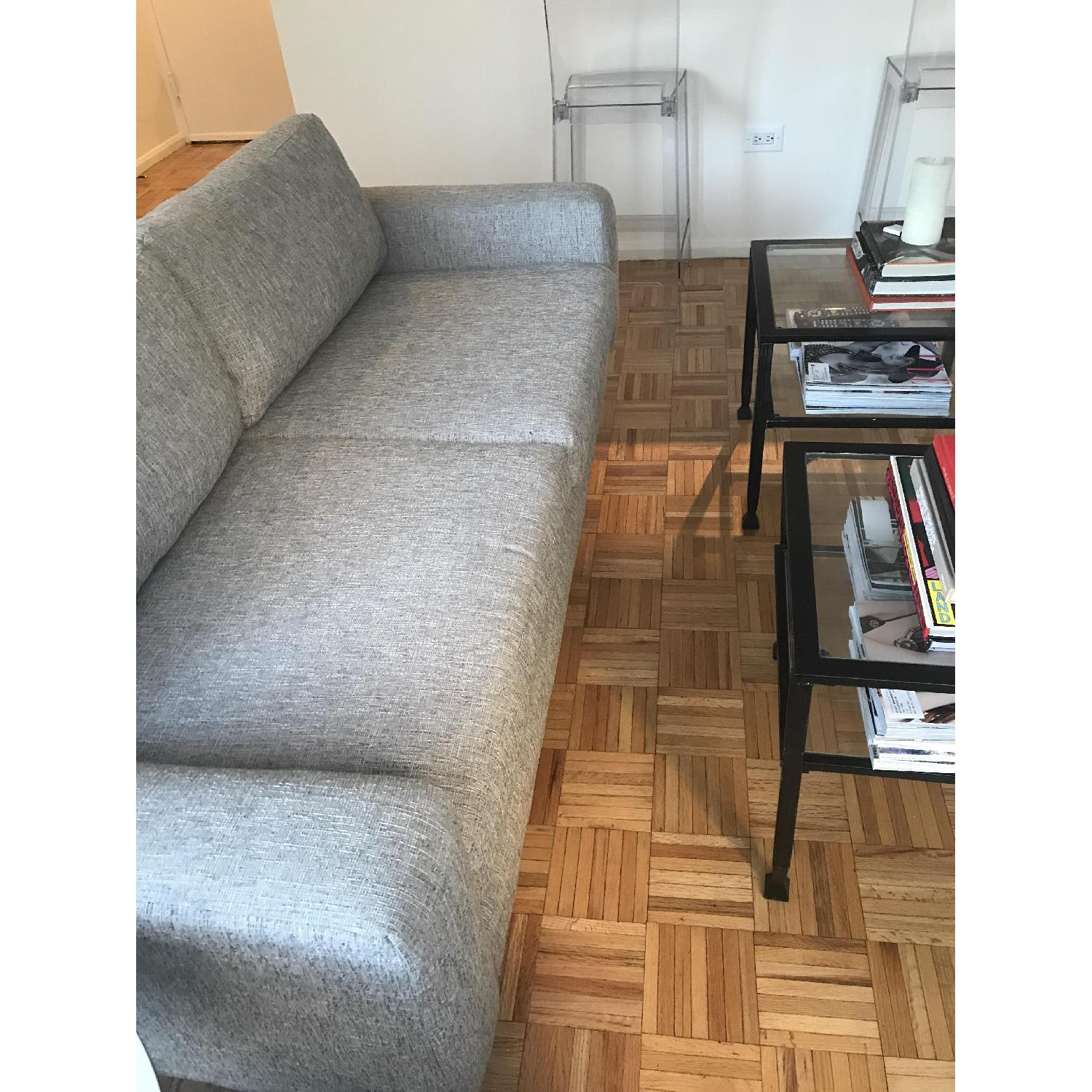 West Elm Eddy Loveseat in Deco Weave Heathered Grey