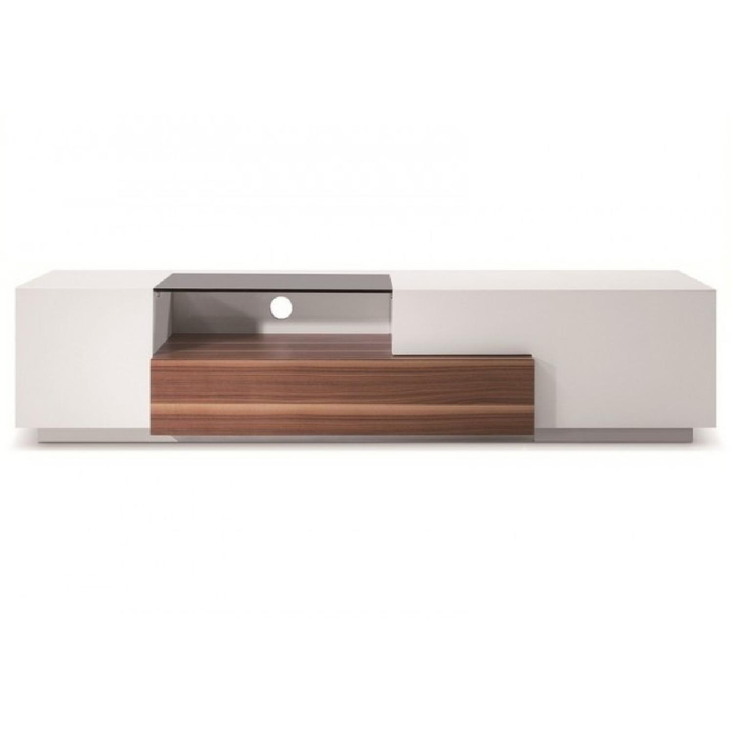 Walnut w/ White High Gloss Contemporary TV Stand