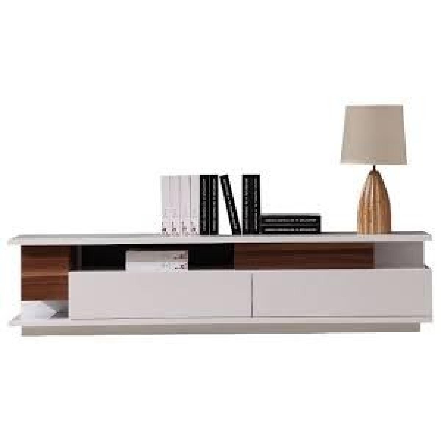 Contemporary TV Stand in White Lacquer & Light Walnut