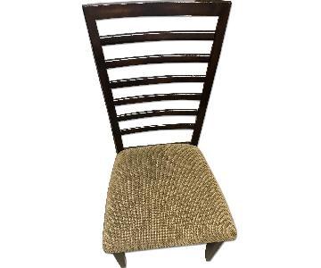 Dark Wood Dining Chair w/ Tan Seat