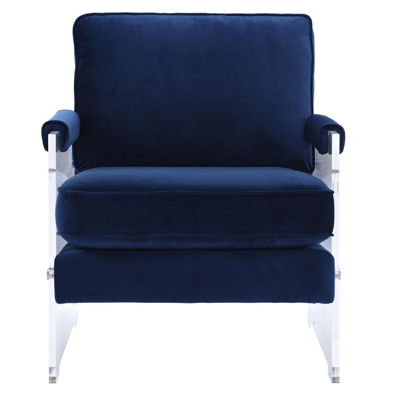 West Elm Henry Blue Velvet Chair