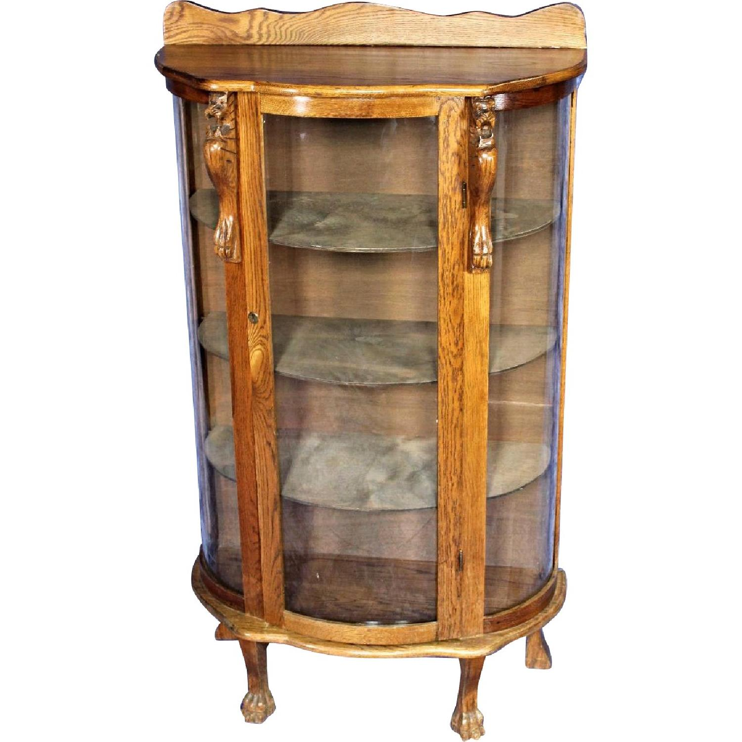 1900s Antique Oak Curved Curio/China Cabinet