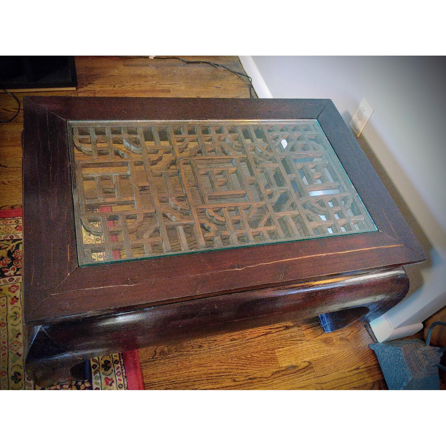 Oriental Furniture Solid Rosewood Coffee Table w Glass AptDeco