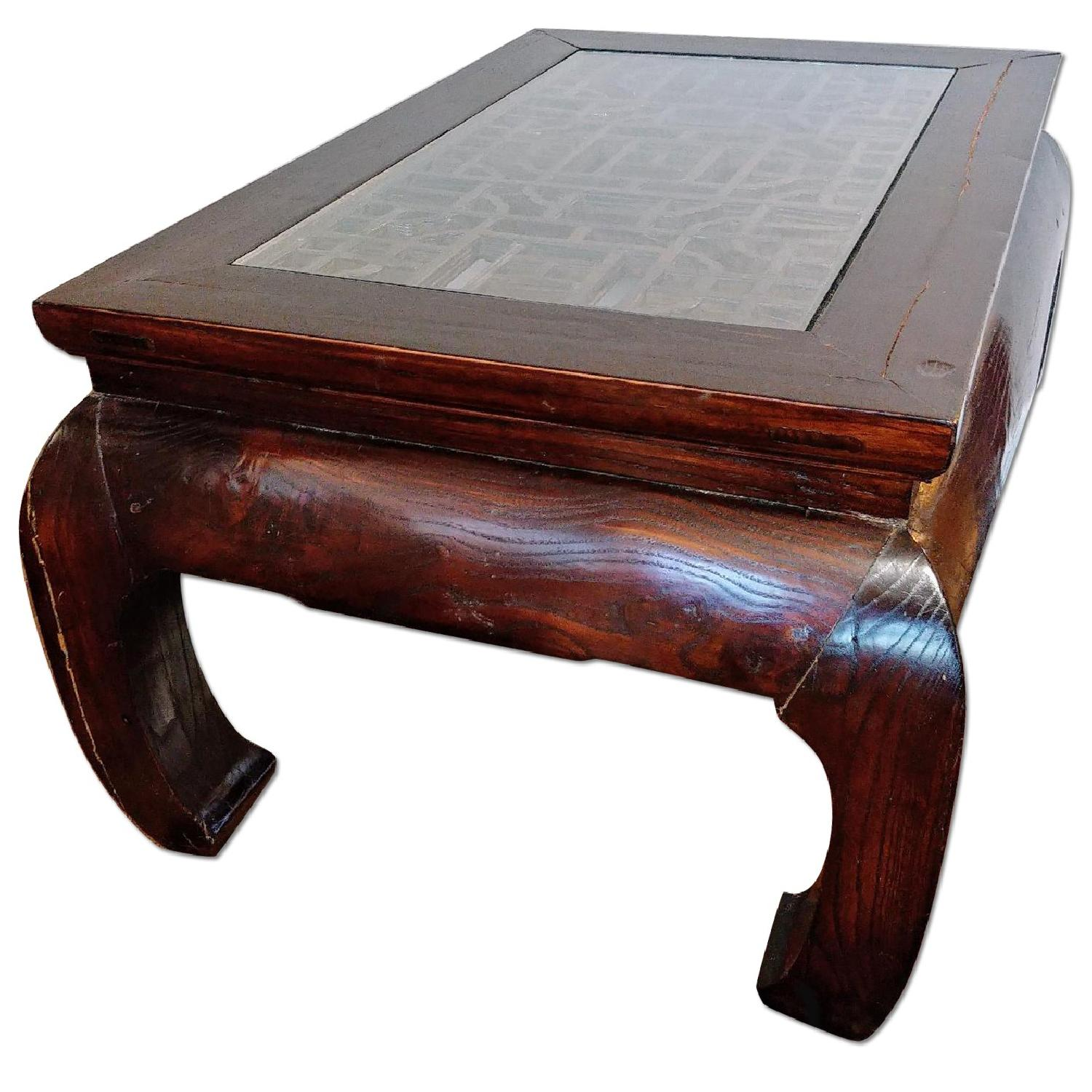 Oriental Furniture Solid Rosewood Coffee Table w/ Glass Top