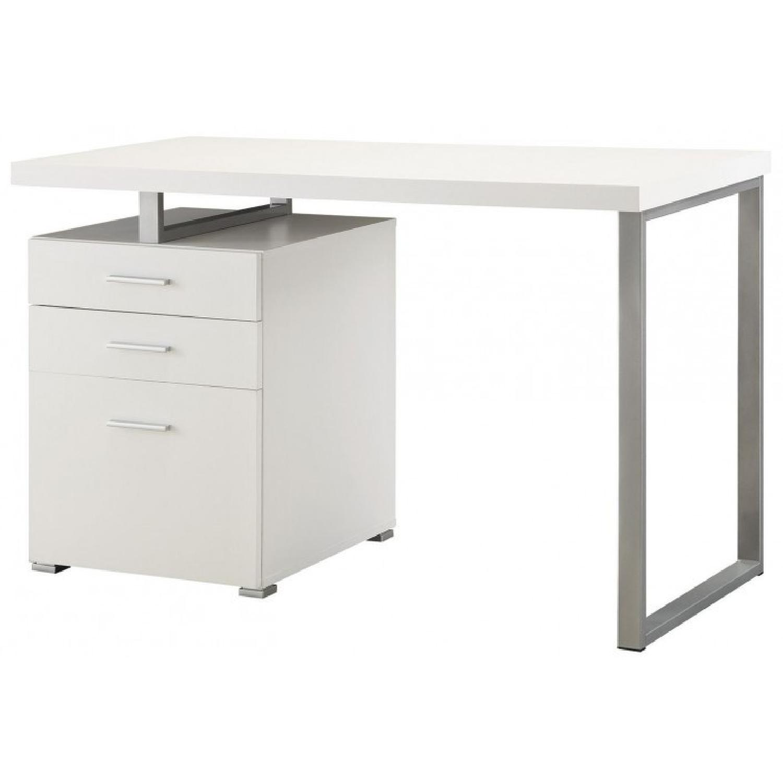 White Writing Desk w/ File Drawer