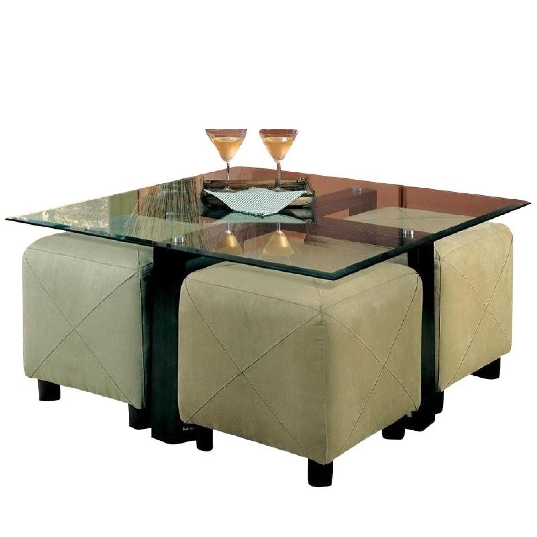 Coaster Metal U0026 Glass Coffee Table W/ 4 Ottoman Cubes ...