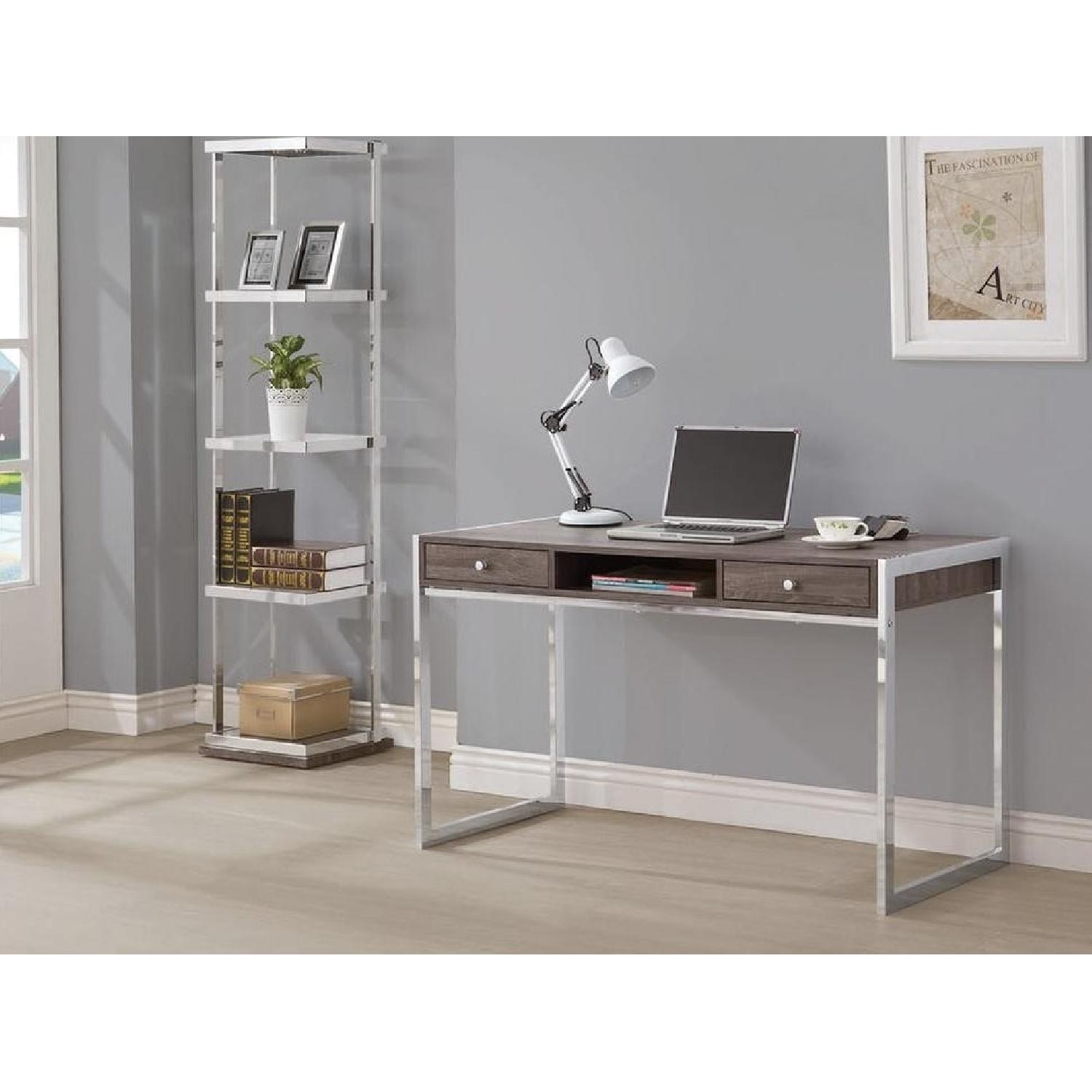 Writing Desk Finished In Weathered Grey W Chrome Legs