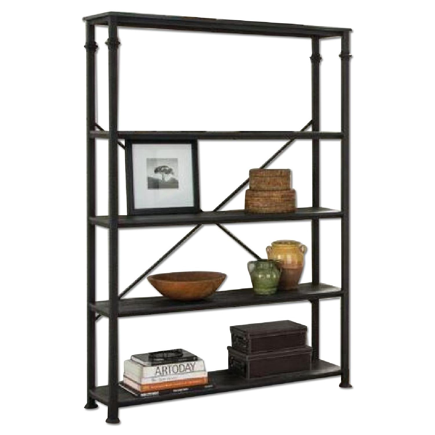 Industrial Style Wide Bookcase w/ Black Frame