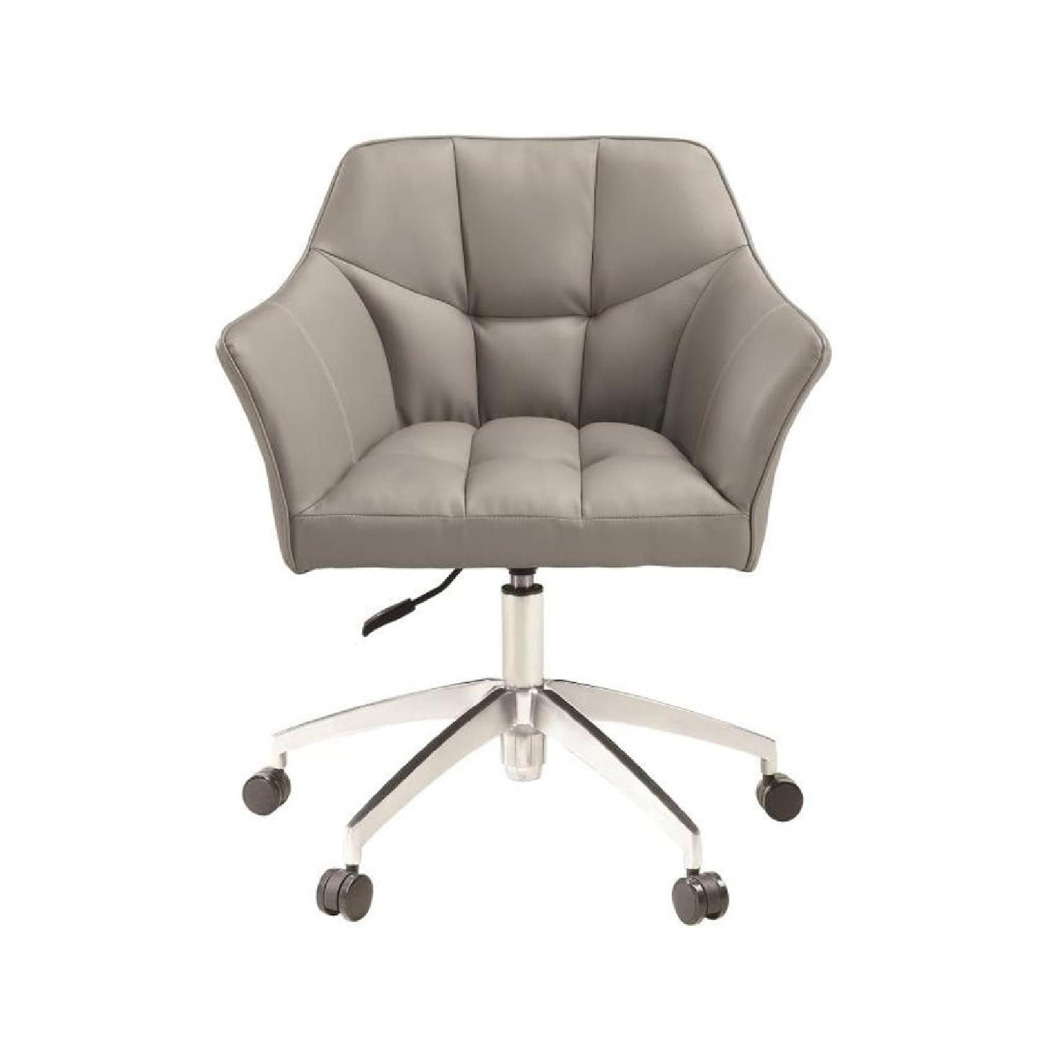 Modern Office Chair Upholstered in Grey Leatherette