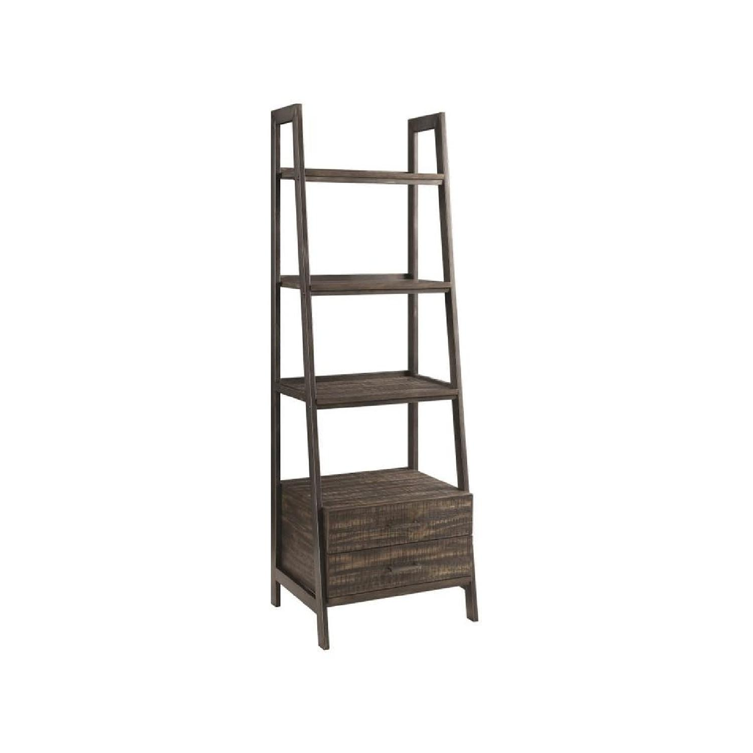 Rustic Bookcase w/ Metal Frame & Wood Shelves & Two Drawers