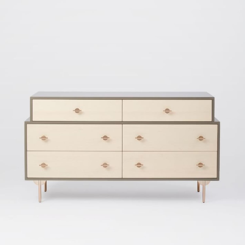 Greta 6 Drawer Dresser in Shetaki Laquer Light Ash AptDeco