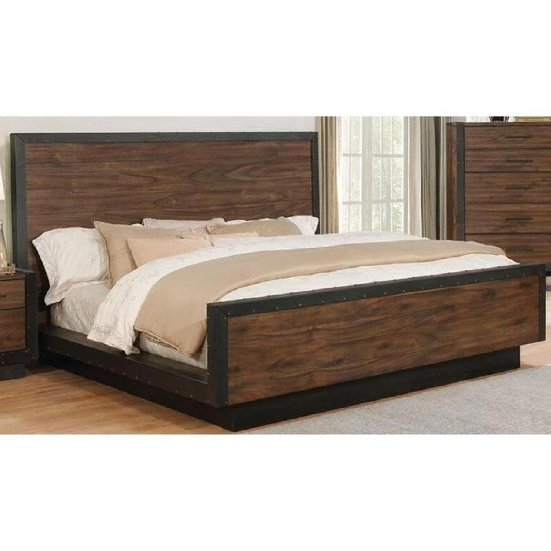 Industrial Modern King Platform Bed w/ Metal Accent