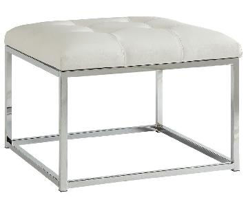 Square Ottoman in Tufted White Leatherette w/ Metal Frame