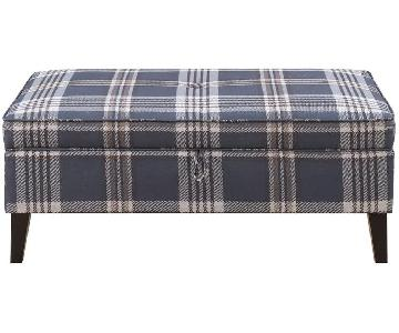 Storage Bench/Ottoman in Wool-Like Plaid Fabric
