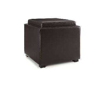 Crate & Barrel Stow Chocolate Leather Storage Ottoman