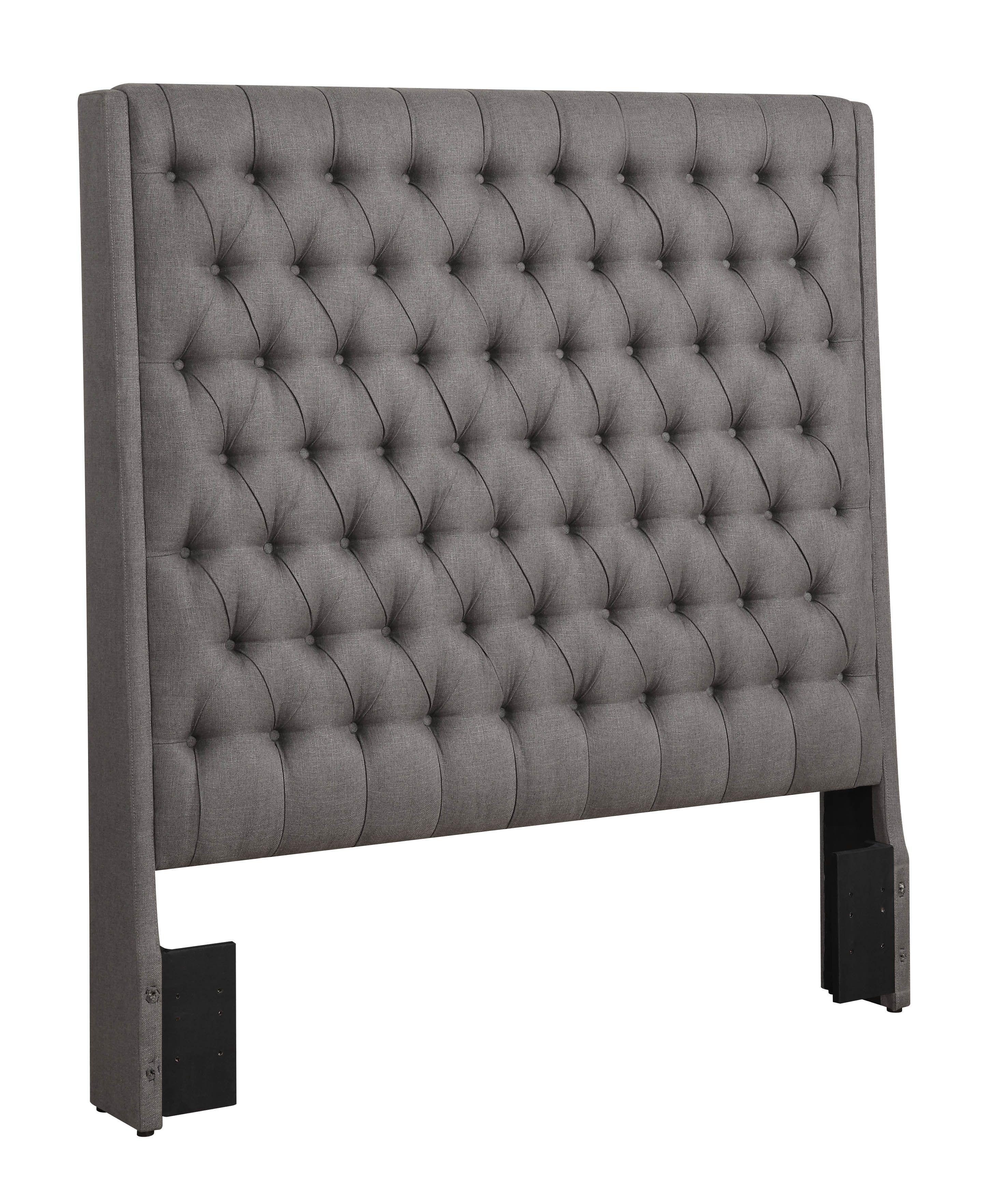 Queen Modern Ultra Tall Headboard in Tufted Grey Fabric