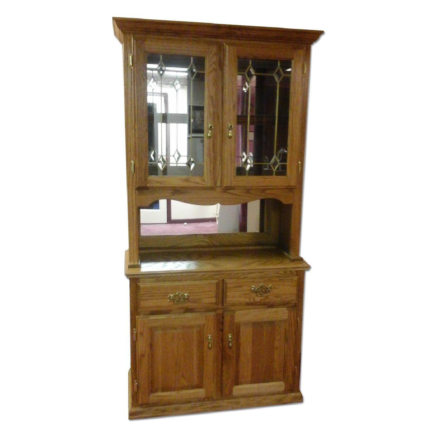 Brooklyn city furniture oak wood dining curio cabinet