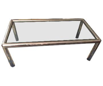 Glass & Stainless Steel Framed Coffee Table