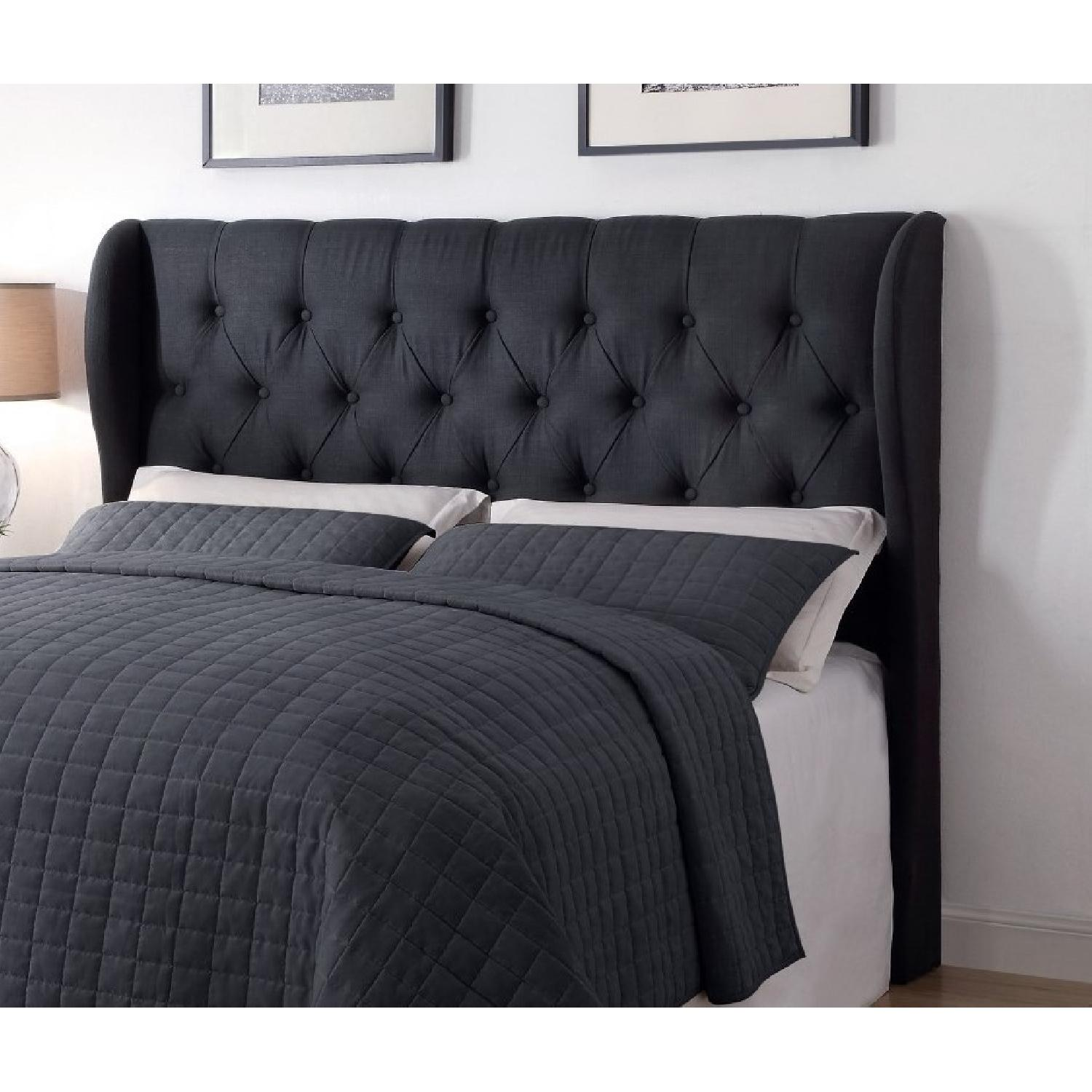 Demi Wing Full/Queen Button Tufted Headboard in Charcoal - image-1