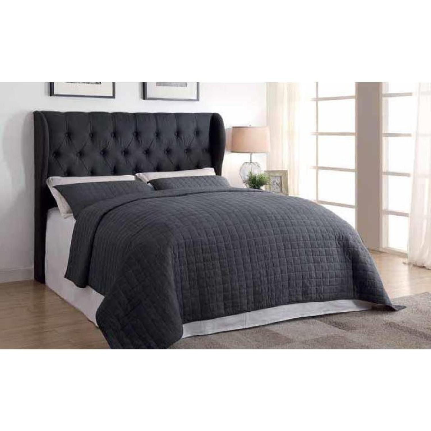 Demi Wing Full/Queen Button Tufted Headboard in Charcoal - image-2