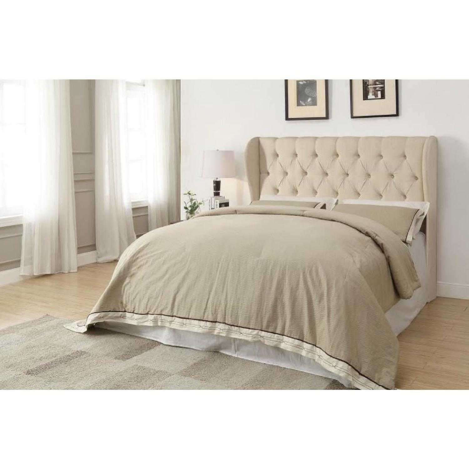 Demi Wing King Button Tufted Headboard in Beige Fabric - image-2