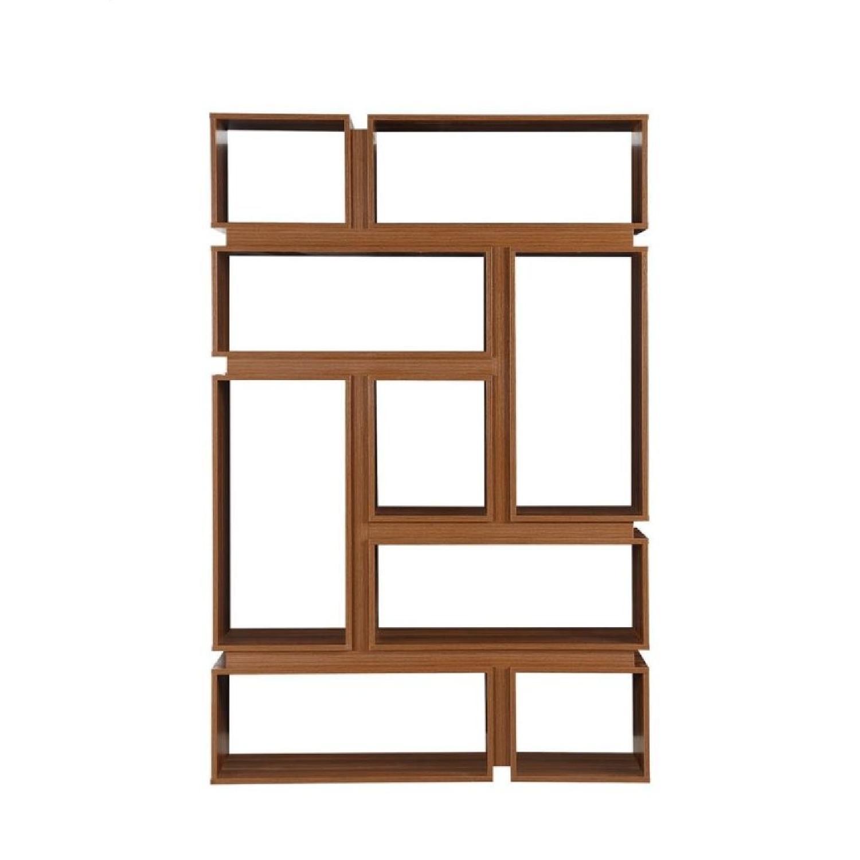 Modern Bookcase W 9 Shelves In Light Walnut Finish Aptdeco