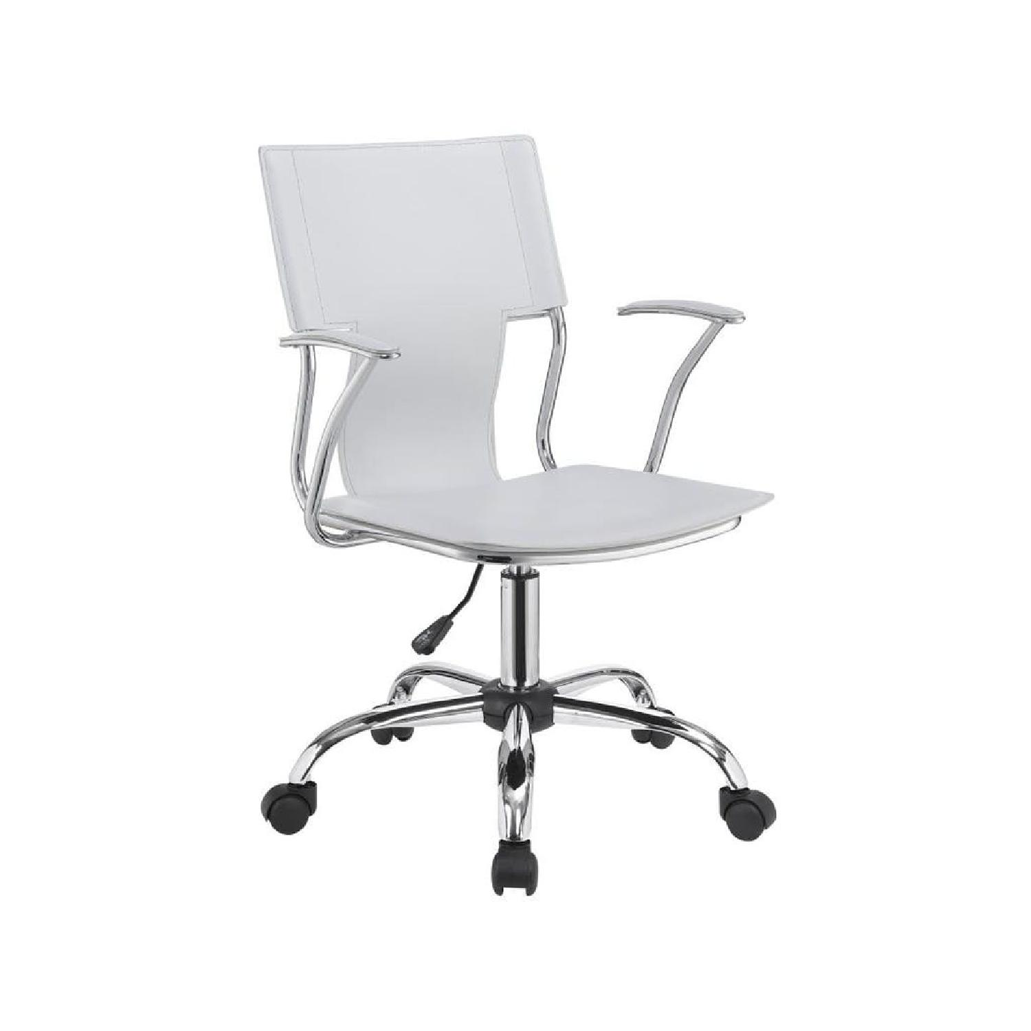 Modern Office Chair in White Leatherette w/ Chrome Legs