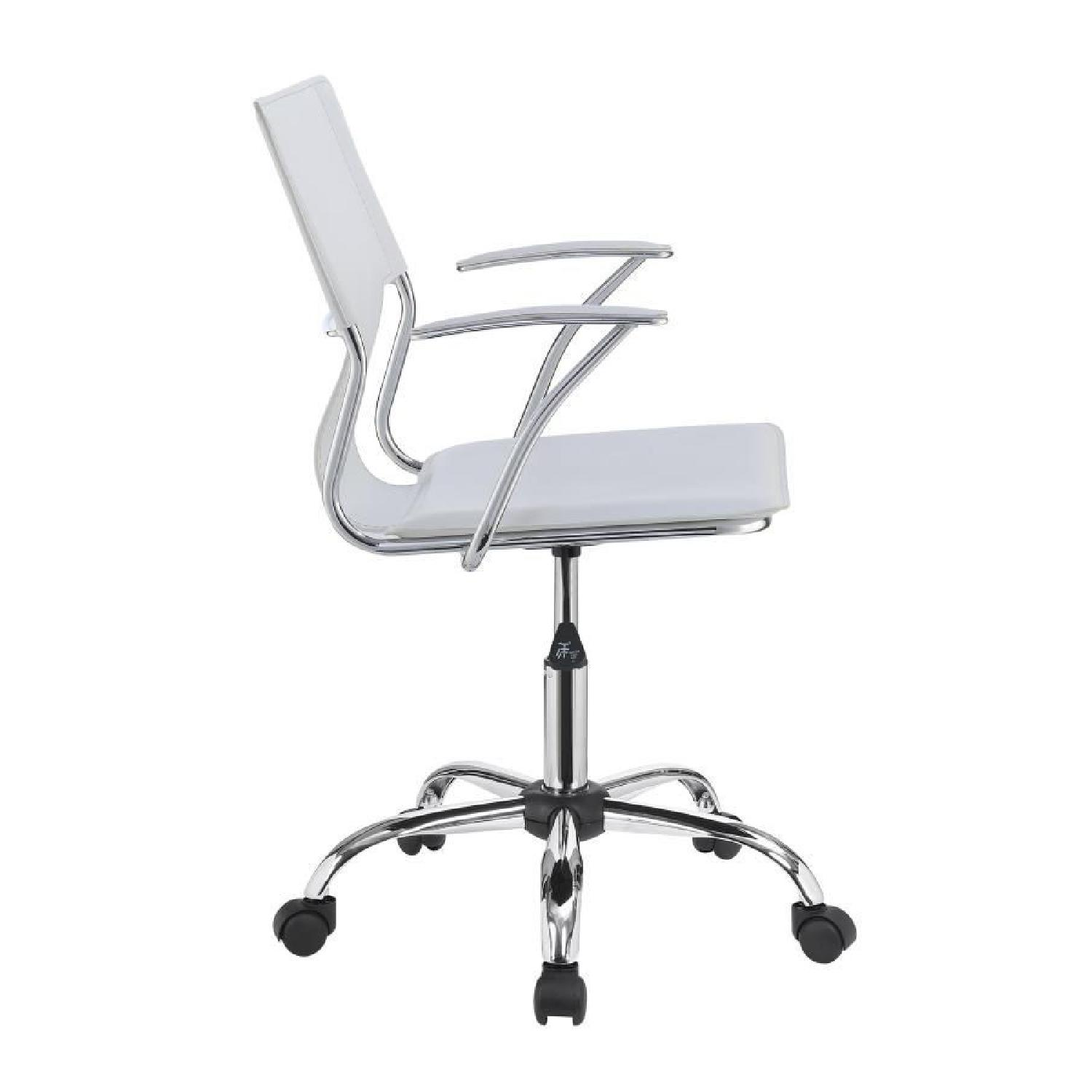 Modern Office Chair in White Leatherette w/ Chrome Legs - image-1