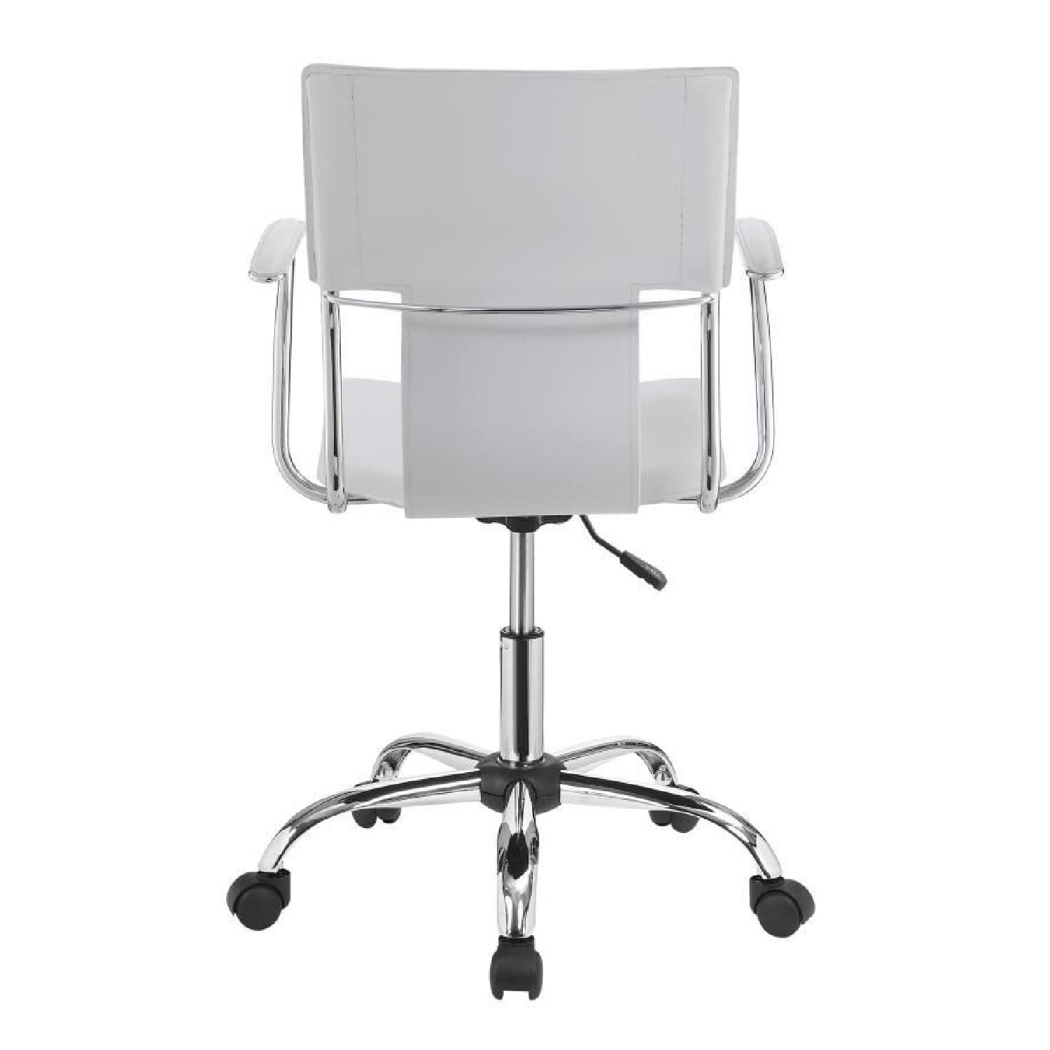 Modern Office Chair in White Leatherette w/ Chrome Legs - image-2