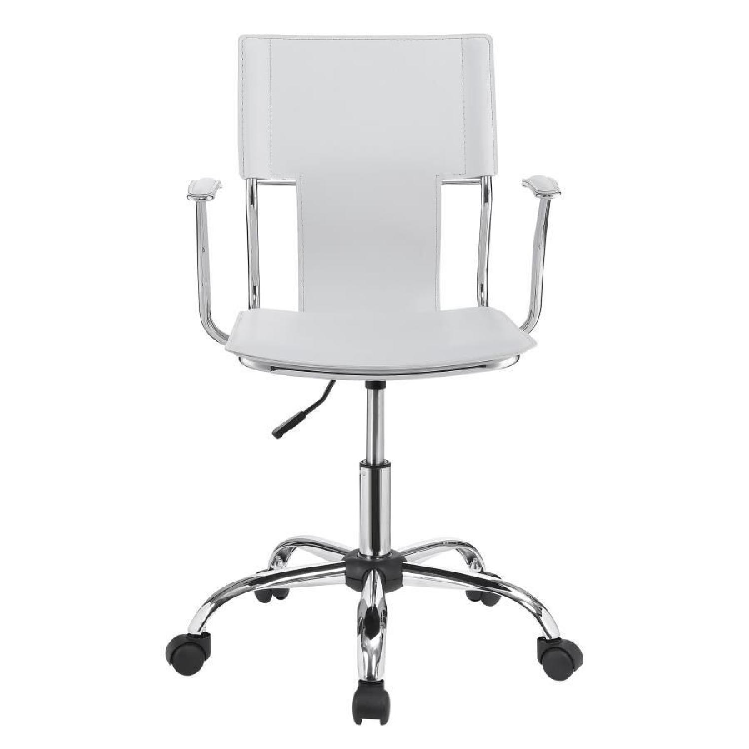 Modern Office Chair in White Leatherette w/ Chrome Legs - image-3