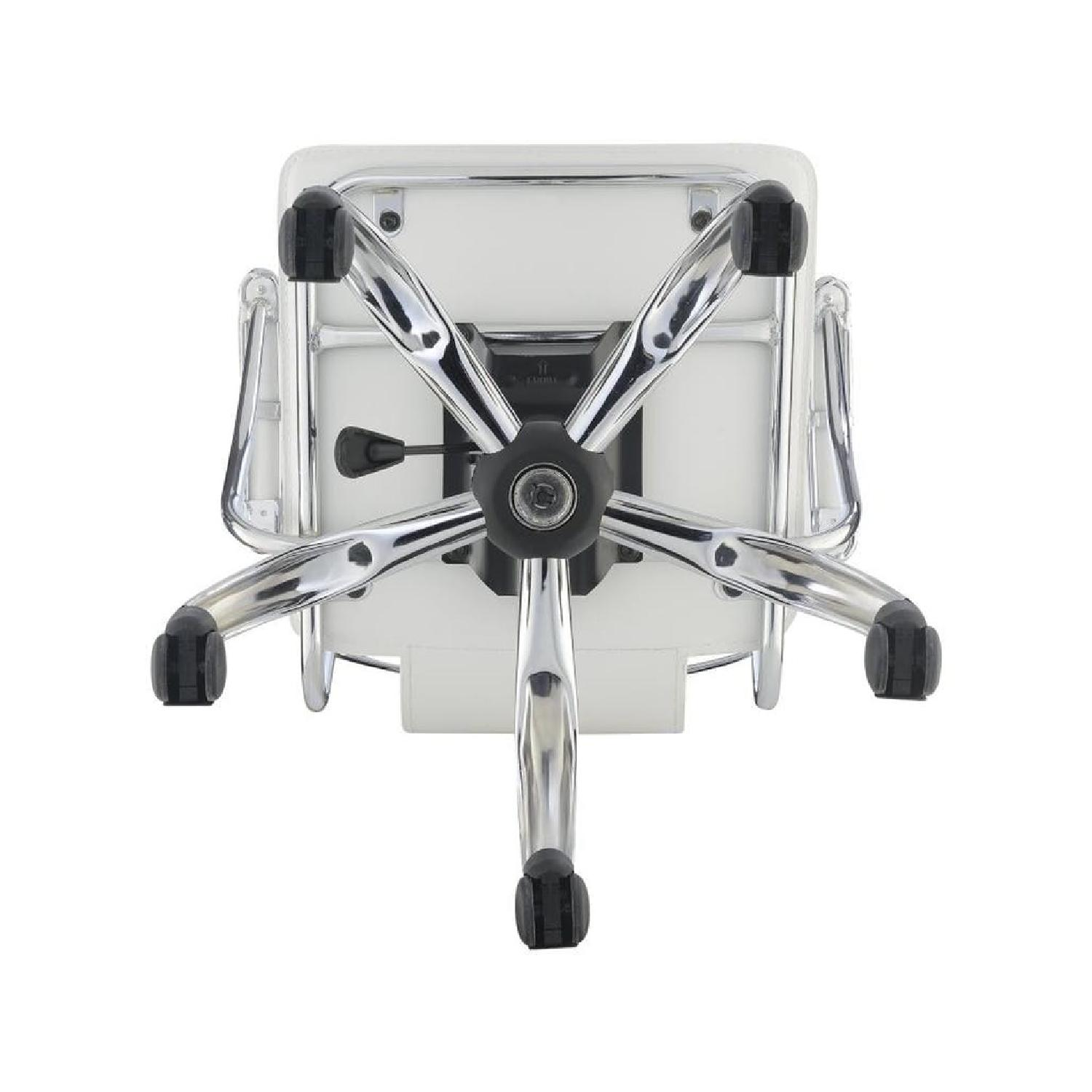 Modern Office Chair in White Leatherette w/ Chrome Legs - image-4