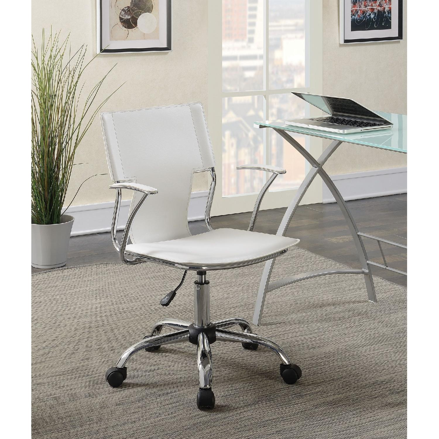 Modern Office Chair in White Leatherette w/ Chrome Legs - image-5