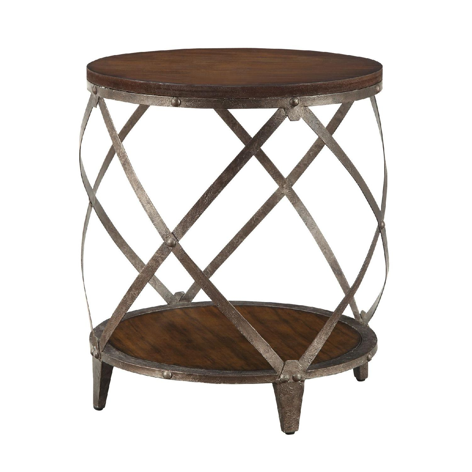 Accent Side Table In Warm Brown W Spiral Metal Frame