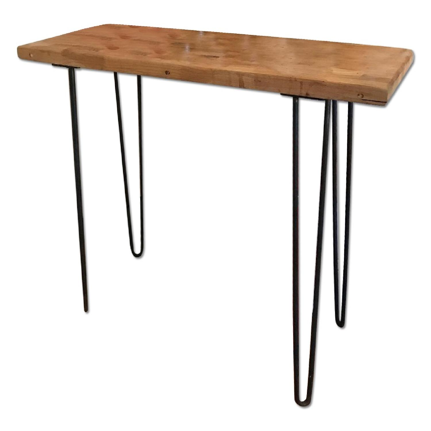 Counter Height Butcher Block Side Table W Hairpin Legs
