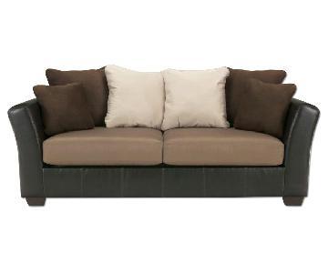 Jennifer Convertibles Beige Brown Microsuede Sofa