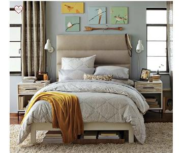 West Elm Panel Tufted Queen Size Headboard in Flax