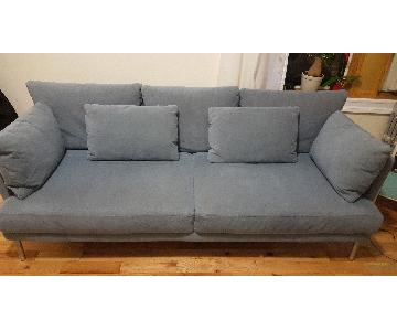 Blue Suede 2 Seater Sofa