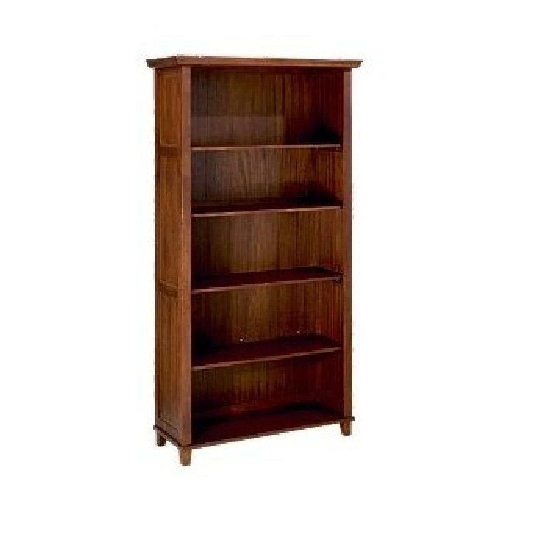 World Market Cost Plus Solid 5 Shelf Wood Bookcase Aptdeco