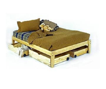 Room Doctor Pine Platform Bed w/ Rolling Storage Drawers