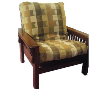 Reclining Futon Chair in Mahogany Finish