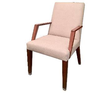 Bright Chair Laxamana Dove Gray Armchair in Walnut Finish