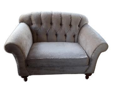 Arhaus Furniture Velvet Taupe Chair
