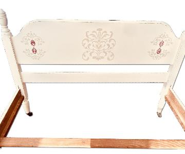 Cream Colored Twin Bed w/ Damask Design